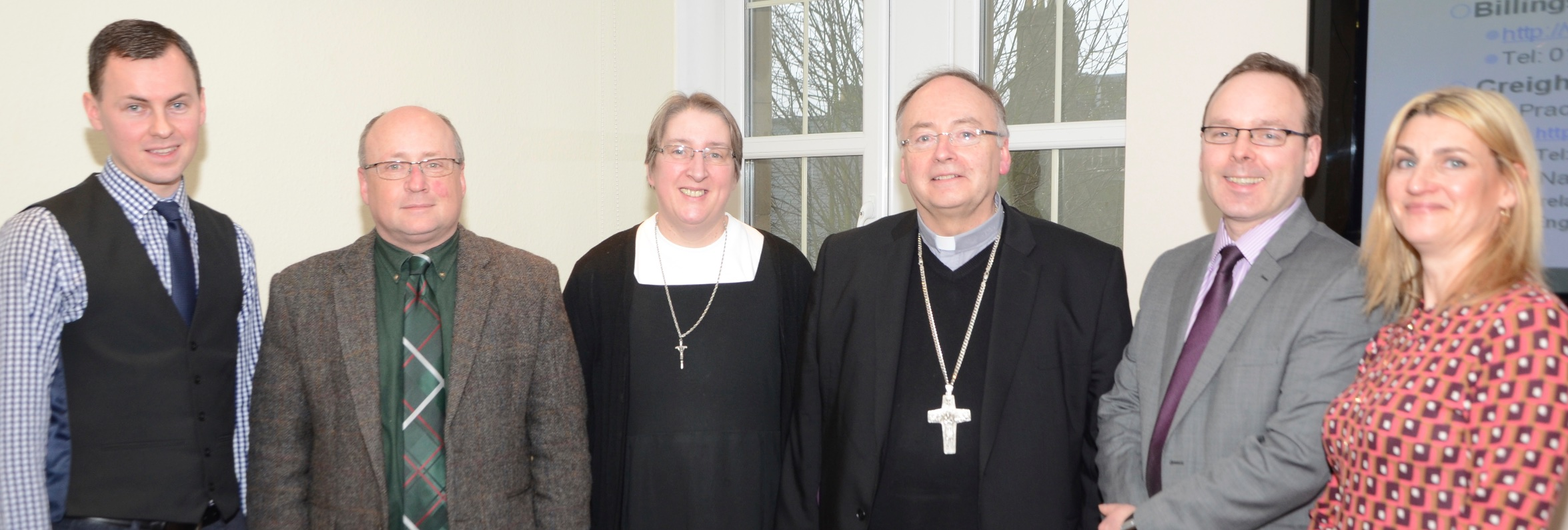Dr John Paul O'Sullivan, Dr Calum MacKellar (Director of Research, Scottish Council on Human Bioethics), Sr Roseann Ready (founder of the Order of the Sisters of the Gospel of Life), Bishop Stephen Robson (Dunkeld), Mr John Deighan (Catholic Church's Parliamentary Officer) and Claire McGrath (Dunkeld Diocese Pro Life)