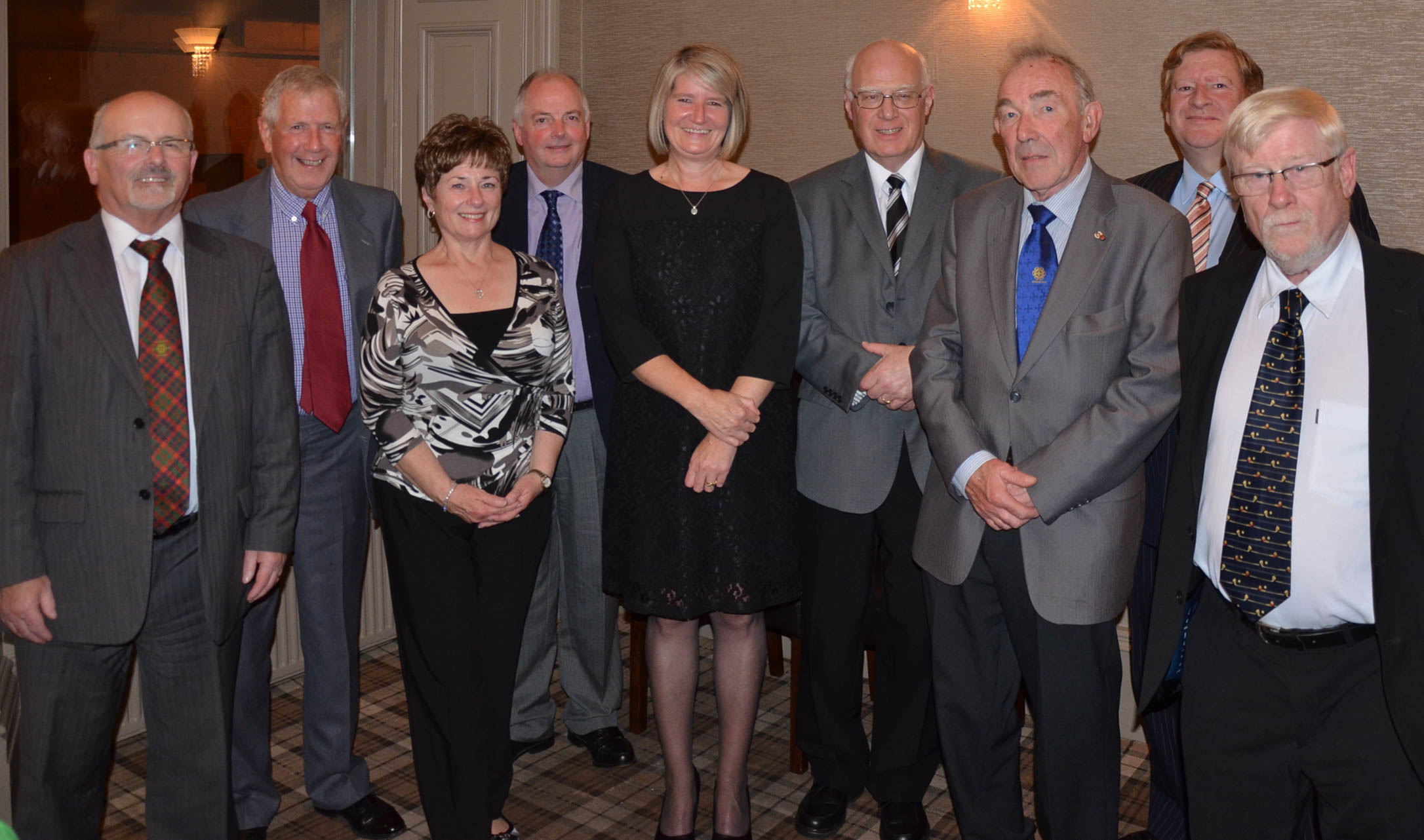 L-R Councillor Archie MacLellan, Douglas and Trish Crighton, Raymond Carlin, Donna Brown, Sheriff Kevin Veal, circle president Joe Dagen, Frank MacGinty and Peter Bleasdale (Glasgow Circle).